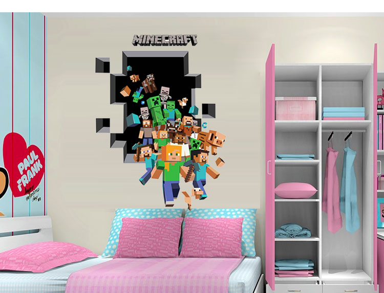 HTB1T lljbsTMeJjSszhq6AGCFXa6 - Newest Minecraft Wall Stickers 3D Wallpapers Kids Room Decals Minecraft Steve Home Decoration Popular Games Home Free Shipping