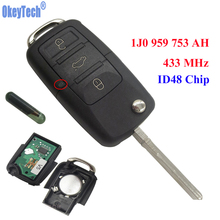 OkeyTech 433MHz 3 Buttons Flip Uncut Remote Key Case Fob With ID48 Chip for VW PASSAT 2002-2005 Beetle Polo /Skoda 1J0959753AH(China)