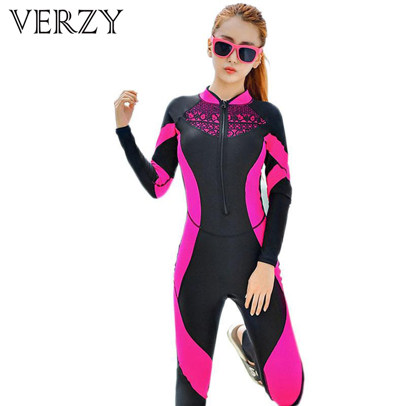 2017 Lace Wetsuit Women Zipper Swimsuit Full Body Jumpsuits Diving Suit Rash Guard Wetsuits for Swimming Surfing Sports Clothing(China)