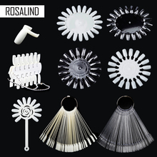ROSALIND False Nail Color Card Transparent White Practice gel varnish Tools Buckle Ring Manicure tips for Nail Gel 6 Patterns(China)