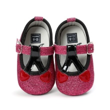 Baby Shoes Red Cherry Spring Summer Bling Pu Leather Soft Sole Toddler Prewalker Fashion Baby First Walkers