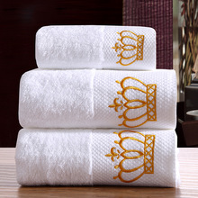 Towel Set 100% Cotton 16S Spiral Satin Terry Bath Towel Face Towels Thickening Towel Crown Mr Mrs Juego de Toallas