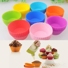 Eight Kinds Of Colors! Hot! 10 / Bag , Silicone Cake Cup Muffin Cups Lined With Baking Kitchen Hot Cake Case(China)