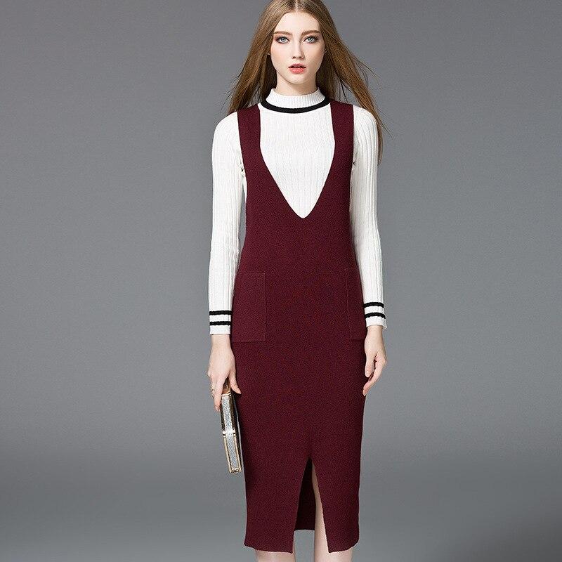 HMCHIME 2017 Autumn boutique women knitted dress fashion sexy deep V neck package hip sleeveless pure color woman dress HM691Îäåæäà è àêñåññóàðû<br><br>