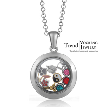 Memory Photo Glass Locket Necklace Silver Magnetic Floating Charm Locket Pendants Jewelry with Stainless Steel Chain VA-069(China)