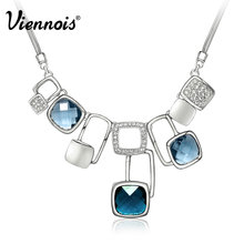 Viennois SilverMagic Cube Muliti Blue Crystal Statement Chain Pendant Necklace For Women Jewelry New Accessories