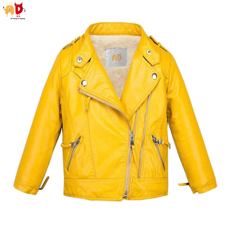 AD Candy Color Boys Girls Fleece Leather Jacket for Winter Yellow Leather Coat Outwear for Kids Childrens Cothing<br>
