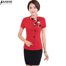 2016 New summer fashion women suite OL short sleeve blazer skirt outfits plus size office business female skirt suit work wear(China)