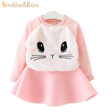 Autumn Cute Bunny Baby Girls Clothes Sets Rabbit Sweatshirts Toddler Girl Skirt Sets Boutique Kids Clothing Infant Girl Outfits