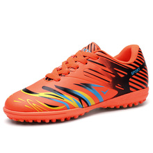 Indoor Shoes for Men Kids Size 35-44 Tf Soccer Shoes Orange/Pink Soccer Cleats Original Lace Up Artificial Turf For Football