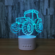 Tractor 3D Speaker Lamp Novelty Tractor Bluetooth Speaker USB Music Night Light Bedside Lampara With Color Changeable Gift