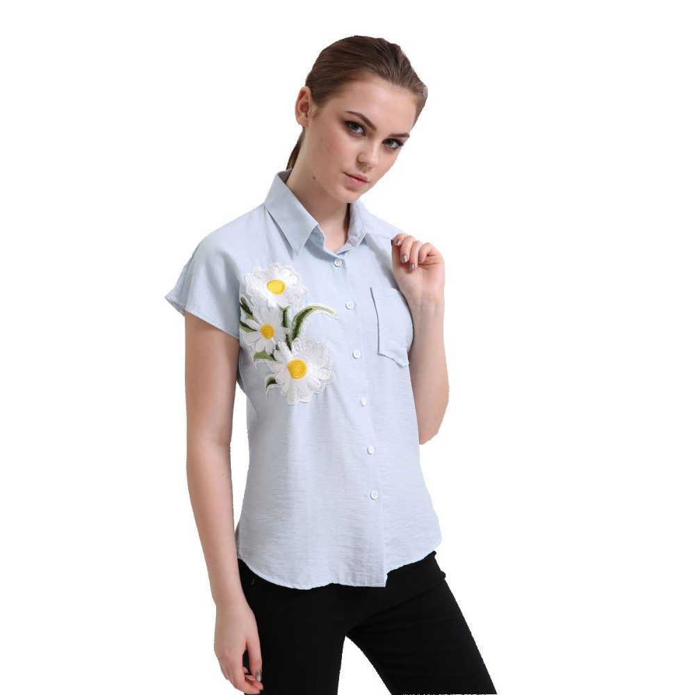 HTB1Ta.nRVXXXXalapXXq6xXFXXXU - Women Spring Shirt Turn-Down Collar Ladies Blouses Long-Sleeve