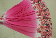 007/2M a pieces/Floral Printed Chiffon Fabric For Summer Dress Shirts Sewing Tulle Fabrics Polyester Cloth Apparel Fabric(China)