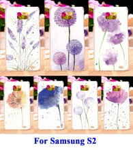 Hard Plastic and Soft TPU Cell Phone Bags For Samsung Galaxy SII I9100 S2 Cases DIY Painted Painting Flowers Shell Cover Hood