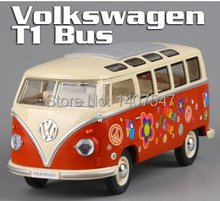 Brand New KINGSMART 1/24 Scale Car Toys 1962 Volkswagen Classic Hippy Bus Blue Diecast Metal Pull Back Car Toy For Gift Loose(China)