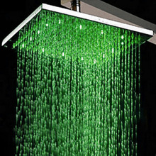 "Chrome Finish 8"" LED Square Rain Shower Head Wall Mounted Brass 37cm Shower Arm"