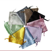 100pcs free shipping Satin drawstring pouches Satin jewelry pouch Satin gift hair bags custom logo toiletry bag jewelry bag