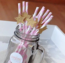New 20pcs Gold Glitter Stars Paper Straws Party Supplies Wedding Decorations Bridal Shower Birthday Decor Chic Pink Eco Straws