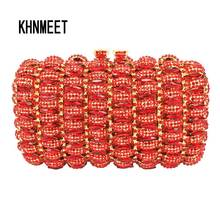 new designer Red cocktail party clutch bags French romantic evening bag women handbags red studded jeweled pochette purse SC148(China)