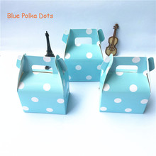 Pack of 12 (12pcs/lot) Blue Polka Dots Favors Horn Candy Box Paper Treat Bags Baby Shower Kids Birthday Party Supplies