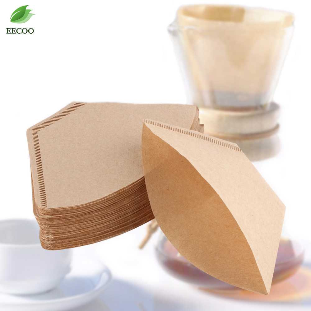 100 Pcs/Bag Wooden Original Hand Drip Paper Coffee Filter Espresso Coffee Filter Packs Tea Bag Strainer Green Tea Infuser(Hong Kong)