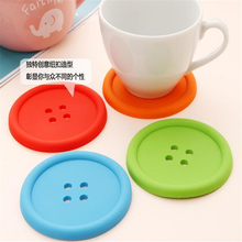 Multiple colors Silicone Cup mat Cute Colorful Button Cup Coaster Cup Cushion Holder Drink Cup Placemat Mat Pads Coffee Pad(China)
