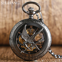 Top luxury Brand SHUHANG Cool The Hunger Games Mechanical Pocket Watches Wind Up Fashion Skeleton Watch Vintage Gift Item 2017