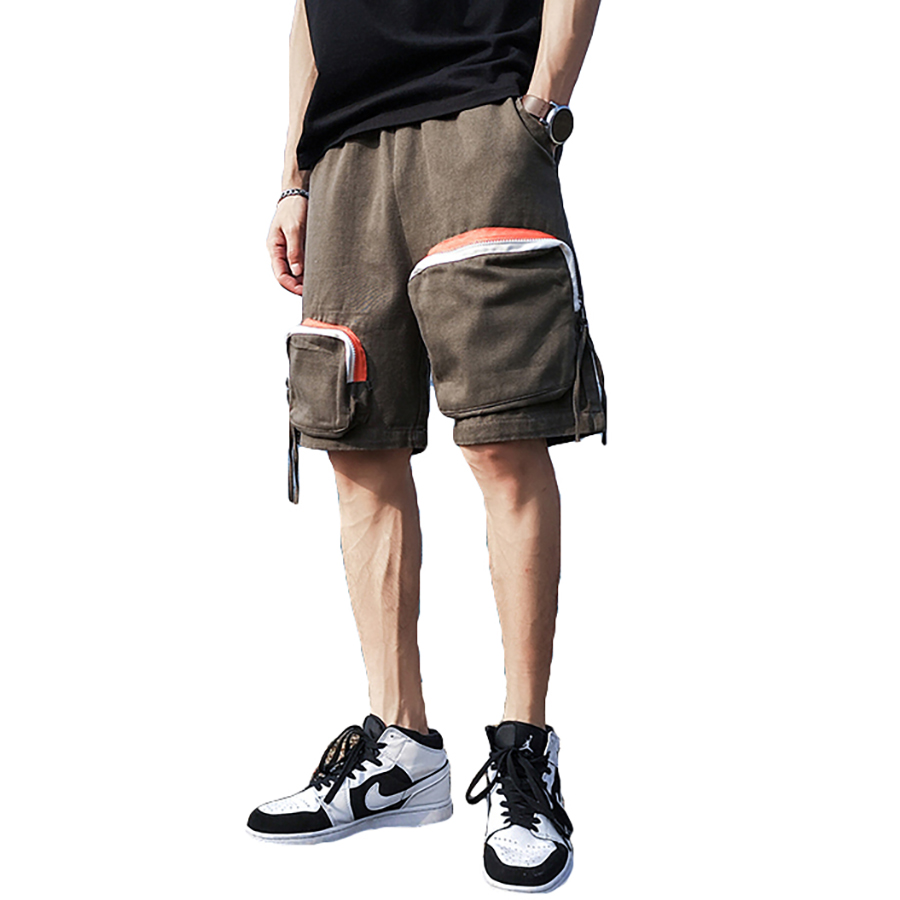 Men Summer Shorts Zipper Pockets Cargo Hip Hop Mens Joggers Short Masculino Baggy Drawstring Shorts Man Streetwear Fashion