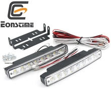 Eonstime White Universal 2 PCS 12V Car 8 LED DRL Driving Daytime Running Day LED Light Head Lamp Super +turns Off Light Features