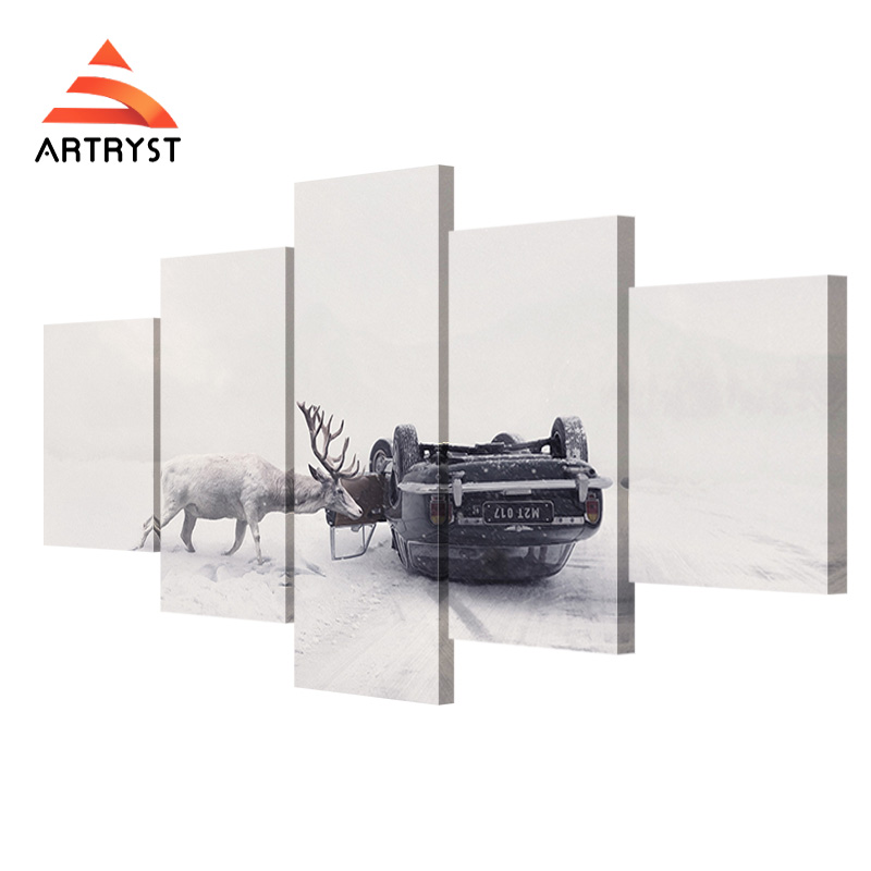 5 pieces of canvas painting art deer car winter poster HD print on canvas modern home decor living room wall painting artwork(China (Mainland))