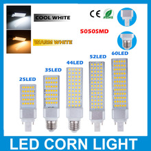 5PCS/Lot 5W 7W 9W 11W 13W LED Horizontal Plug Lamp E27 G24 Base LED Corn Lights 5050 SMD With 180 Degree For Crystal Lighting