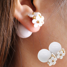 2017 new simulated pearl flower Earrings light cute korea two ball Jewelry Double side Stud Earring candy romantic wholesale
