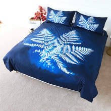 BlessLiving Leaf Bedding Set Watercolor Duvet Cover Dark Blue Plant Energy Bed Linen White Leaves Comforter Cover Set 3-Piece(China)