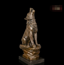 Abstract Art Sculpture Decoration West Bronze Copper Marble Wolf Statue Figurine