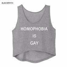 BLACKMYTH HOMOPHOBIA IS GAY Letters Print Sleeveless Tee Vest Women's Grey White Clothing Black Crop Tank Tops Tee