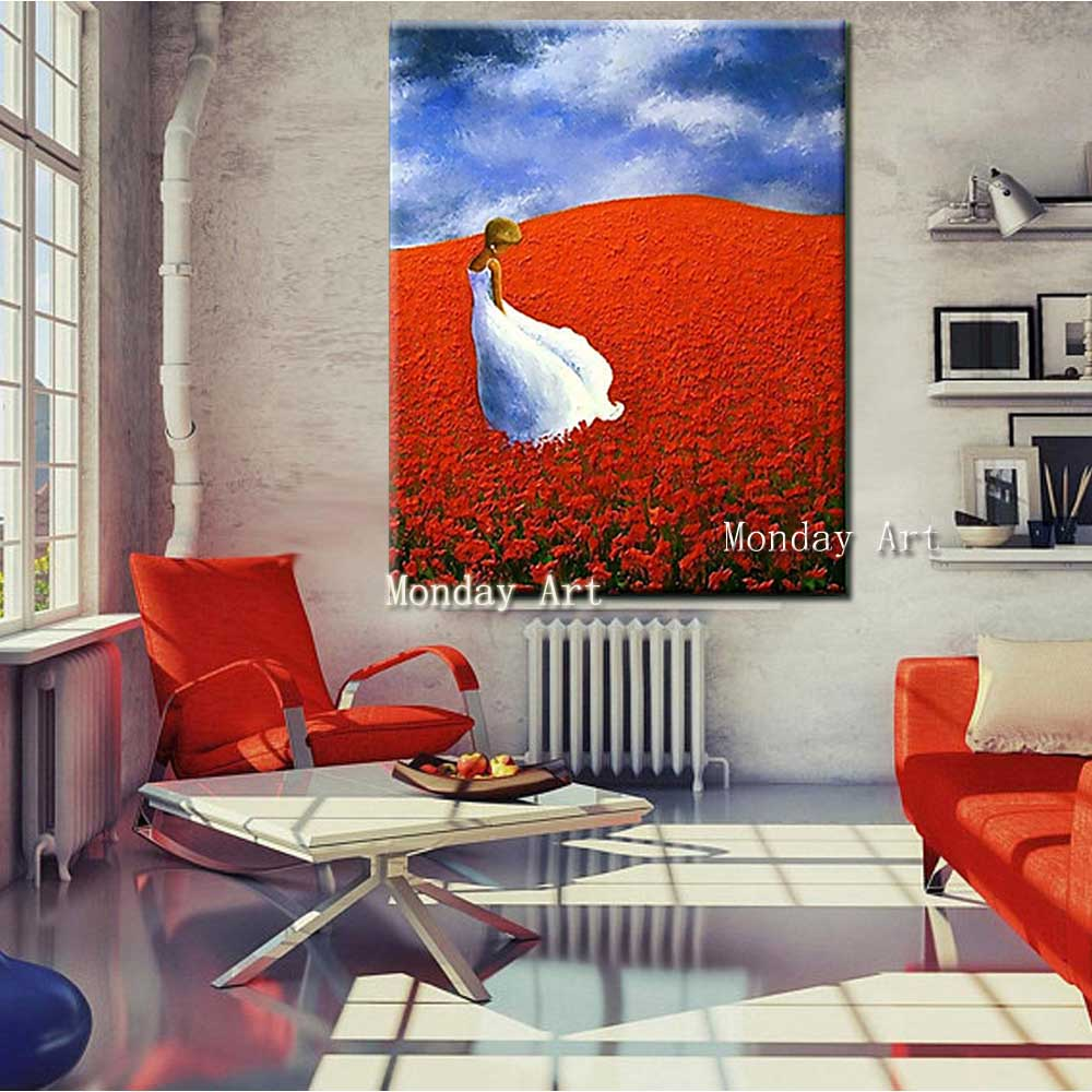 Hand-Painted-Thick-Oil-Flower-Girl-Landscape-Canvas-Oil-Painting-Abstrac-Wall-Art-Picture-Living-Room (3)