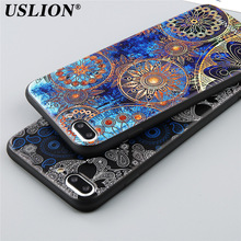 USLION Phone Case For iPhone 6 6s Plus 7 7 Plus Soft TPU Silicon Fashion Relief Cartoon Skull Flower Painted Phone Case Covers