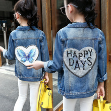 Girls Denim Jackets Coats Fashion Children Outwear Sequin Children Clothing 2018 Spring Kids Jean Jacket Girls Clothes 4-14Y(China)