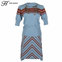 H Han Queen Korean 2 Pieces Set Women Autumn Winter Stripes Casual Sweater Beading Skirt Suit (Pullover Sweater+A-line Skirts)(China)