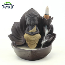Zen Meditation Lotus Flower Backflow Incense Burner Creative Monk Buddha Desktop Decoration