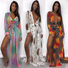 WLKE Summer Beach Maxi Dress Women Sexy Deep V-neck Full Sleeve High Split Leopard Print Dress Long Sundress Vestidos KP1250(China)