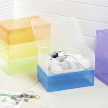 10pcs New Clear Home Shoe Boot Box Plastic shoebox Stackable Foldable Storage Closet Organizer(China)