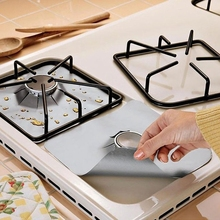 4Pcs 27*27cm Reusable Foil Gas Hob Range Stovetop Burner Protector Liner Cover For Cleaning Kitchen Tools(China)