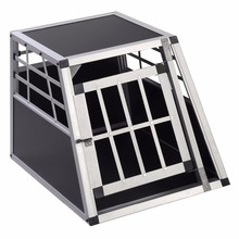 Goplus Aluminum Dog Transport Box Dog Crate Kennel Pet Playpen Cage w/Lock 28''H PS5789(China)
