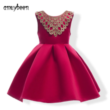 Amuybeen Girls Clothing Dress 2017 New Summer Girls Party Wedding Dresses Sleeveless Bowknot Red Childrens Christmas Dress 8 9 Y(China)