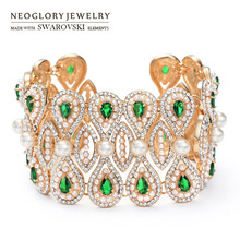Neoglory Austria Rhinestone & Zircon & Simulated Pearl Bangle Light Yellow Gold Color Vintage Water Drop Style Bracelet Lady