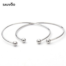 SAUVOO 5pcs Open Rhodium Color Wire Thread Bracelet Bangles 65mm Outer Diameter DIY European Bracelet Findings Materials F2012
