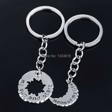 2Pc/Set Key Ring Chain  letters New Silver Plated My Sun And Stars Moon Of My Life Between Lovers Friendship
