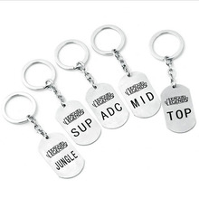 Online Game League of New Legends LOL Pendant keychain New Arrival ADC MID SUP TOP JUNGLE logo Llavero Chaveiro Cosplay jewelry