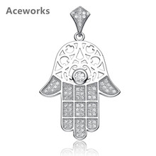 Aceworks Vintage Hamsa Hand 925 Sterling Silver Pendants Hollow Zirconia Pendant Necklace European Women Gift Jewelry